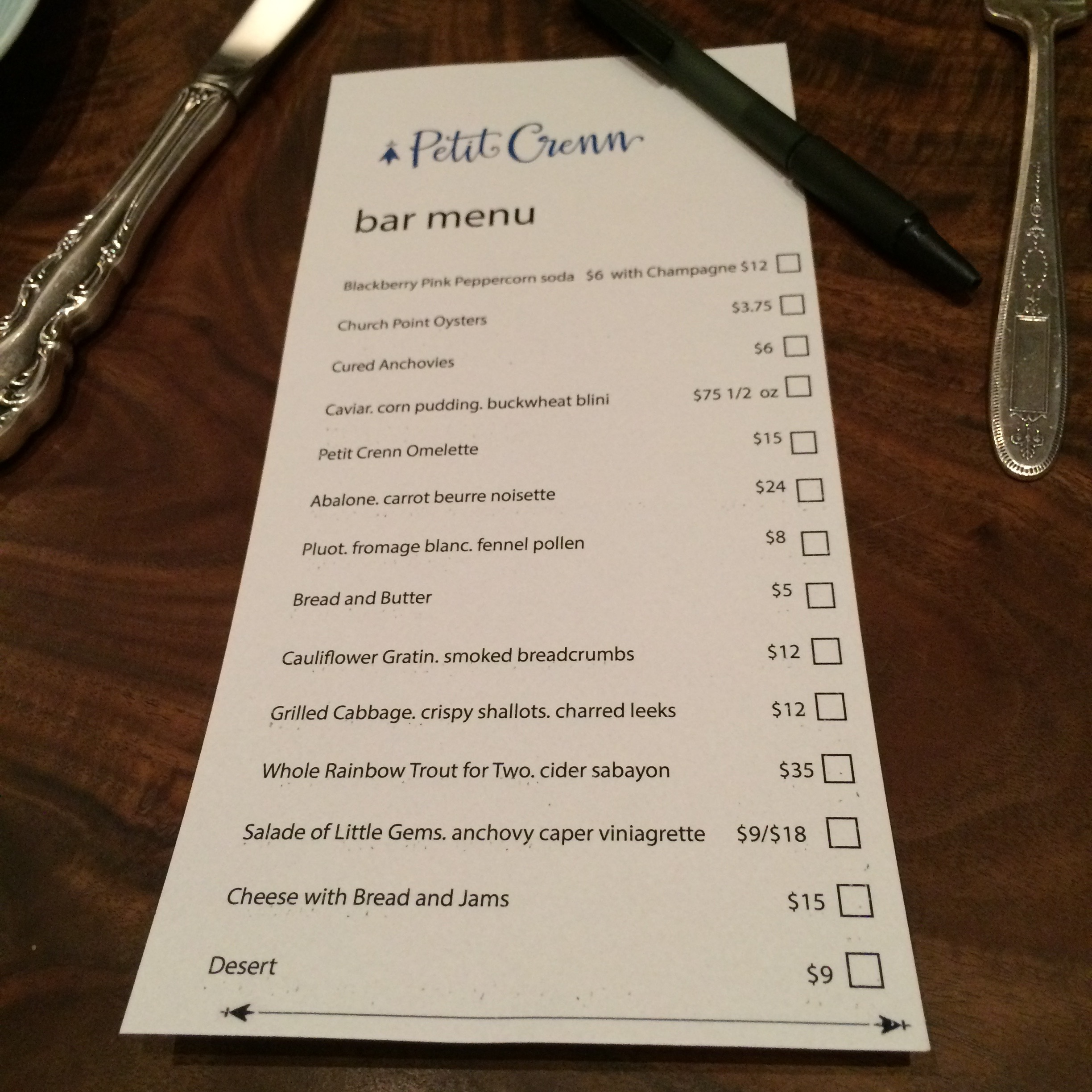 Much That We Decided To Return For The A La Carte Experience At Bar Were Presented With Menu And Pen Check Off Items Wanted